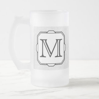 Your Letter Custom Monogram Gray Black White Coffee Mugs