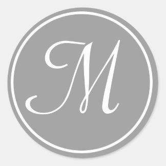 Your Letter, Custom Monogram M Initial Grey Round Sticker