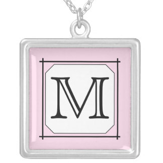 Your Letter. Custom Monogram. Pink Black White Square Pendant Necklace