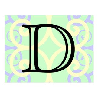 Your Letter. Custom. Pastel Mix Swirl Monogram. Postcard