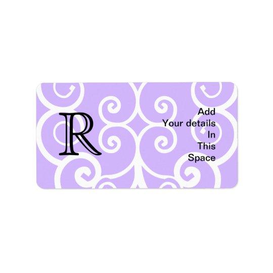 Your Letter. Custom. Purple Swirl Monogram. Label