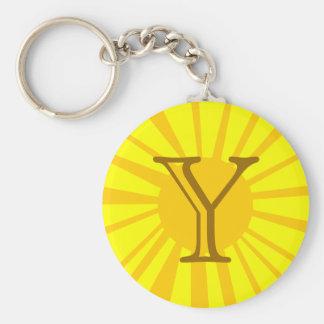 Your Letter. Custom Yellow Sun Ray Monogram. Keychain