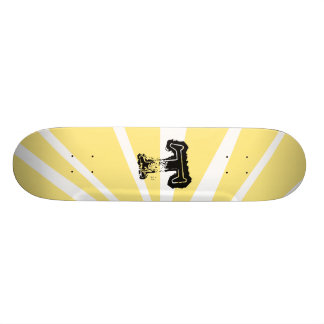 Your Letter. Custom Yellow Sun Ray Monogram. Custom Skate Board