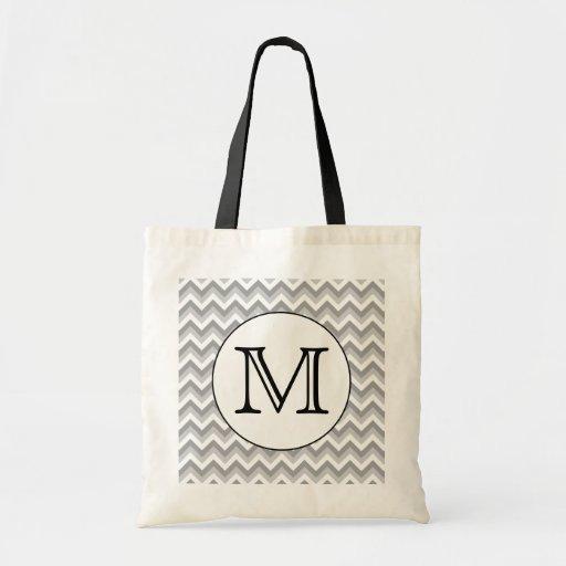 Your Letter. Gray Zigzag Pattern Monogram. Bag