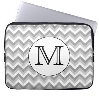 Your Letter. Gray Zigzag Pattern Monogram. Laptop Sleeve