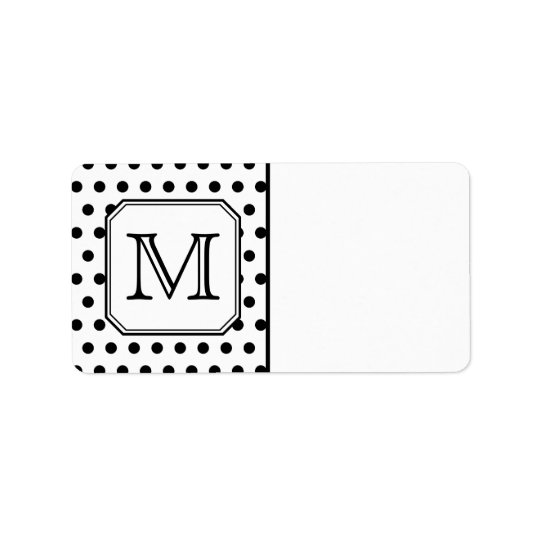 Your Letter Monogram. Black and White Polka Dots. Label