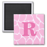 Your Letter Monogram. Custom. Pink Giraffe Pattern Refrigerator Magnet