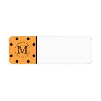 Your Letter Monogram. Orange and Black Polka Dot.