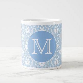 Your Letter, Monogram. Pale Blue Damask Pattern. Large Coffee Mug