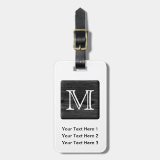 Your Letter Monogram. Picture of Black Wood. Luggage Tag