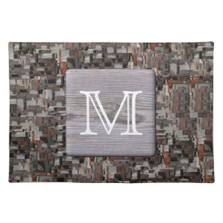 Your Letter Monogram. Picture of Wood and Pattern. Placemat