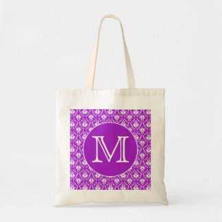 Your Letter. Purple and White Damask Pattern. Tote Bag