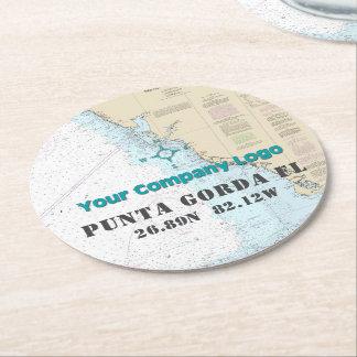 Your Logo Nautical Chart Gulf Coast Florida Round Paper Coaster
