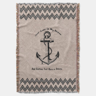 Your Love is my Anchor Chevron Zigzag Custom Throw Blanket