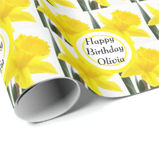 Your Message with Yellow Narcissus Daffodil Wrapping Paper