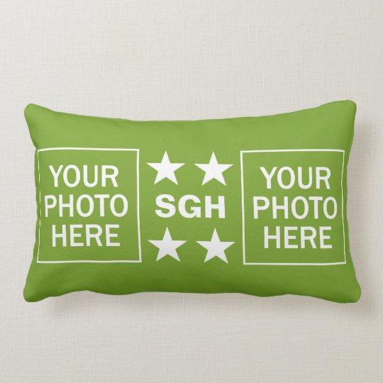 Your Monogram & 2 Photos custom throw pillow