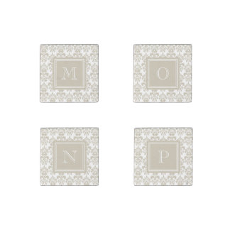 Your Monogram, Beige Damask Pattern 2 Stone Magnet