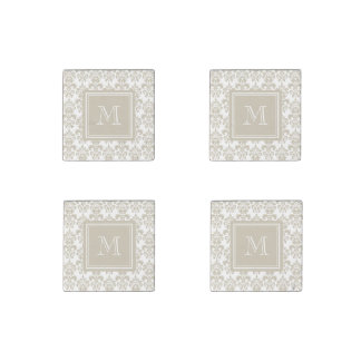 Your Monogram, Beige Damask Pattern 2 Stone Magnets