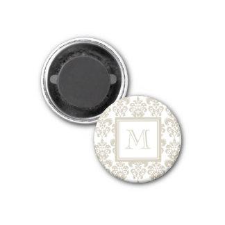 Your Monogram, Beige Damask Pattern 2 Fridge Magnets