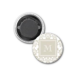 Your Monogram, Beige Damask Pattern 2 Magnet