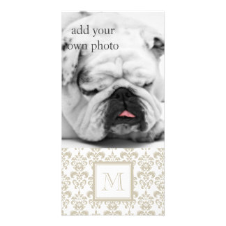 Your Monogram Beige Damask Pattern 2 Picture Card