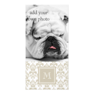 Your Monogram Beige Damask Pattern 2 Custom Photo Card