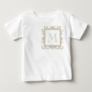 Your Monogram, Beige Damask Pattern 2 Shirt