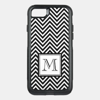 YOUR MONOGRAM, BLACK CHEVRON OtterBox COMMUTER iPhone 8/7 CASE