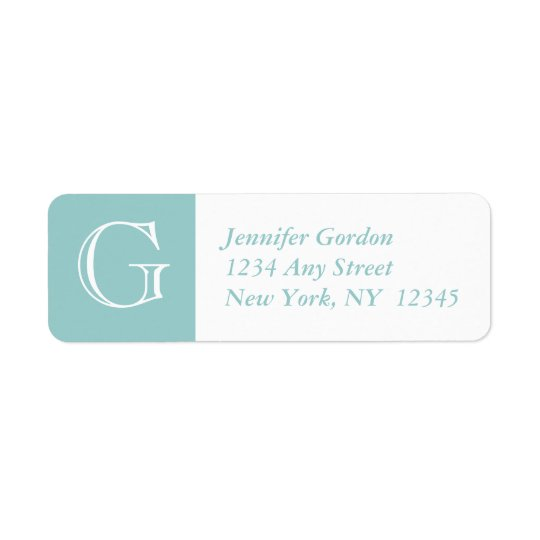 Your Monogram, Blue White Return Address Label