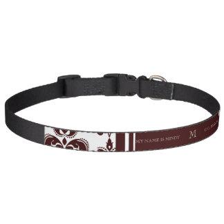 Your Monogram, Brown Damask Pattern 2 Pet Collar