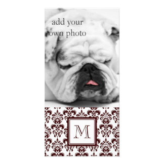 Your Monogram Brown Damask Pattern 2 Picture Card