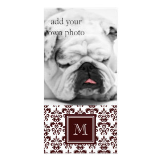 Your Monogram Brown Damask Pattern 2 Personalized Photo Card