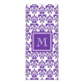 "Your Monogram, Dark Purple Damask Pattern 2 4"" X 9.25"" Invitation Card"