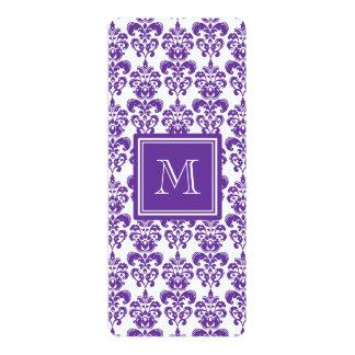 Your Monogram, Dark Purple Damask Pattern 2 4x9.25 Paper Invitation Card