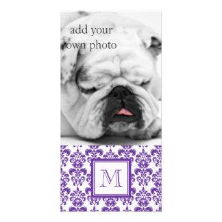 Your Monogram Dark Purple Damask Pattern 2 Customized Photo Card