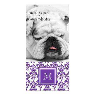 Your Monogram Dark Purple Damask Pattern 2 Photo Card Template