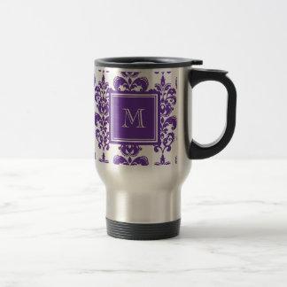 Your Monogram, Dark Purple Damask Pattern 2 Travel Mug