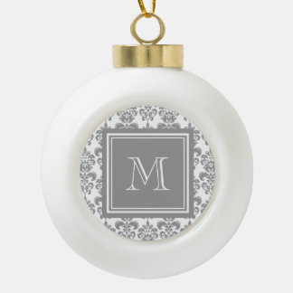 Your Monogram, Grey Damask Pattern 2 Ornaments