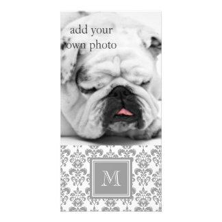 Your Monogram, Grey Damask Pattern 2 Photo Greeting Card
