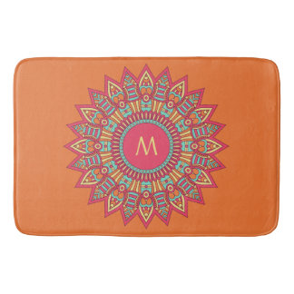 Your Monogram in a Boho Frame bath mats