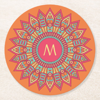 Your Monogram in a Boho Frame paper coasters