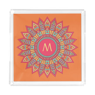 Your Monogram in a Boho Frame serving trays