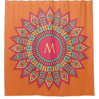 Your Monogram in a Boho Frame shower curtain