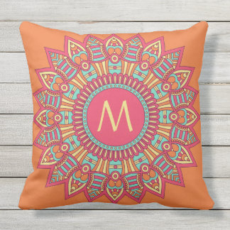 Your Monogram in a Boho Frame throw pillow