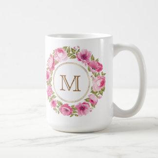 Your Monogram in a Flower Frame Coffee Mug