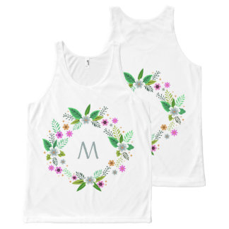 Your Monogram in a Flower Frame custom tank top