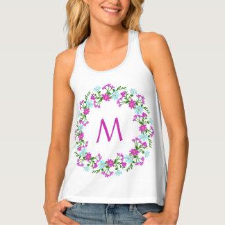 Your Monogram in a Flower Frame custom tank top