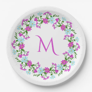 Your Monogram in a Flower Frame paper plates