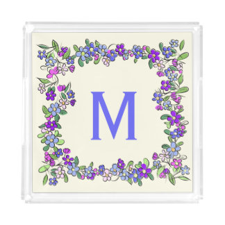 Your Monogram in a Flower Frame serving trays