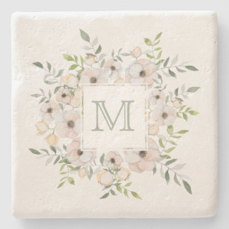 Your Monogram in a Flower Frame stone coasters